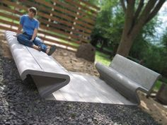 Design Furniture by Arqom; Simoa Line version in concrete for open spaces. Concrete furniture has been popping up the streets everywhere at public spaces.