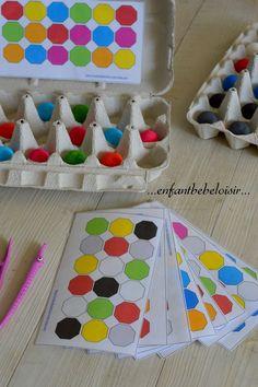 Building 1 1 correspondence while matching colours Montessori Materials, Montessori Activities, Learning Activities, Preschool Activities, Early Learning, Kids Learning, Material Didático, Kids Education, Pre School