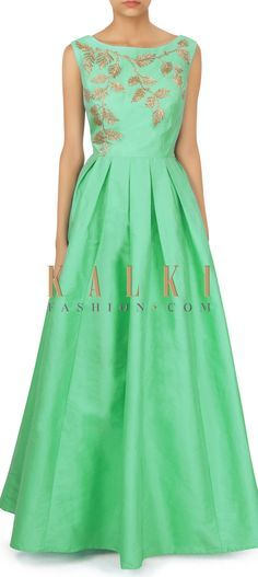 Green dress in kardana embellished bodice only on Kalki Indian Reception Outfit, Reception Gown, Indian Dresses, Indian Outfits, Stylish Dresses, Fashion Dresses, Women's Fashion, Fashion Tips, Off Shoulder Casual Dress