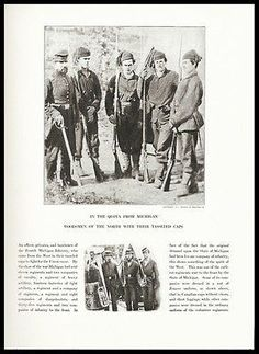 Michigan Woodsmen Tasseled Caps Fourth Infantry Union Army Civil War Print