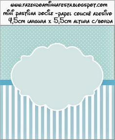 Rayas y Lunares Celeste y Blanco: Etiquetas para Candy Bar para Imprimir Gratis.