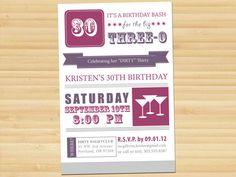 Dirty 30 Birthday Party Invitation. Available at: www.etsy.com/shop/styledbykristen