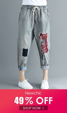 Embroidered Ripped Patchwork Drawstring Denim is a trendy, Newchic provides wide range of best cheap Denim & Jeans for you. Jeans And T Shirt Outfit, Suits For Women, Clothes For Women, Romantic Outfit, Fall Fashion Trends, Dark Denim, Fasion, Denim Jeans, Sweaters For Women