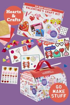 Share crafts from the heart with Kid Made Modern arts and crafts kits! Comes with everything you need to create valentine's for all your loved ones. Valentine Day Boxes, Valentines For Kids, Valentine Day Crafts, Arts And Crafts Kits, Craft Kits, Craft Ideas, Valentine Activities, Toddler Learning Activities, Perler Bead Pokemon Patterns