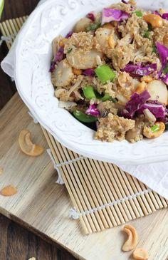 Quinoa Cashew Chicken with Sesame Peanut Drizzle