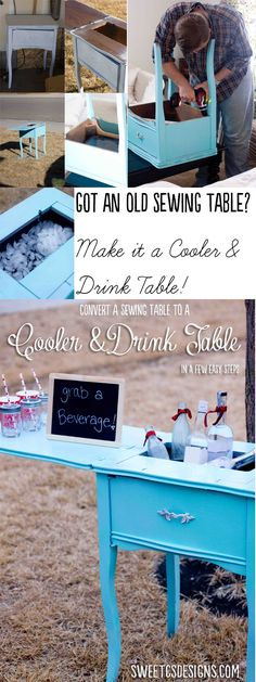 turn an old sewing table into a cooler and drink table- this is GENIUS and perfect for parties! Go hit up garage sales to find one of these and make your next party perfect!