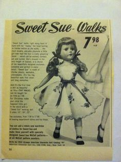 1950s American Character Sweet Sue Doll Ad~Great 'Go-Along' & Documentation  #AmericanCharacter #MagazineAd