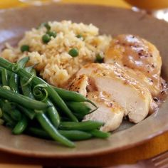 """Chicken recipes Rachel Ray """"Chicken with Apple Gravy, Rice Pilaf and Green Beans (30 minute meals) *looks like I found dinner!"""""""