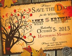 Fall Save the Date wedding Invitation with halloween, enchanting autumn tree, fall leaves, heart and carnival elements on Etsy, $26.50