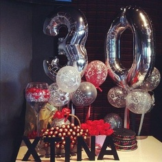30th birthday balloons Thirty Birthday, 30th Birthday Parties, Birthday Bash, Birthday Ideas, 30th Birthday Balloons, 30th Party, Birthday Decorations, Party Time, Thirtieth Birthday