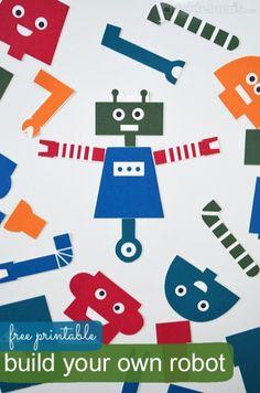 Kids Crafts, Build Your Own Robot, Paper Robot, Robot Theme, Robot Parts, Diy Robot, Preschool Activities, Art For Kids, Prints