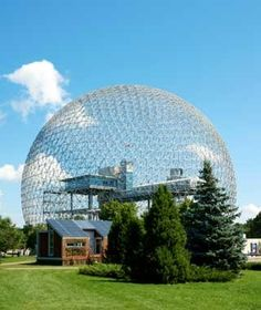 There's nothing like a World's Fair to inspire odd architecture. That's exactly what happened for the 1967 World's Fair in Montreal, when architect Buckminster Fuller designed this geodesic dome. His structure bubbles up from the trees on Saint Helen's Island to 200 feet high and 250 feet in diameter. It was an enclosed structure until a fire in 1976 destroyed the outer layer. Today, the thin-shell structure is owned and run by Environment Canada as a museum, with interactive exhibits on…