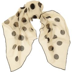 Saint Laurent Polka-dot silk-georgette scarf (€410) ❤ liked on Polyvore featuring accessories, scarves, white, white scarves, white shawl, polka dot scarves and yves saint laurent