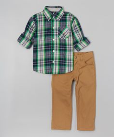 This Spartan Plaid Button-Up & Khaki Pants - Toddler is perfect! #zulilyfinds