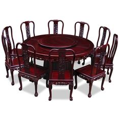 Wonder if my dining room is big enough for this.... I really like it... Huff's of the Roundtable ..... 66in Rosewood Imperial Dragon Design Round Dining Table with 10 Chairs