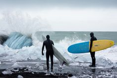 Iceland #surfing  Cold water surfing, winter surf, surf en eau froide