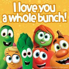 I love you a whole bunch sweet peet! Veggie Tales Party, Veggietales, Wood Pallet Signs, Best Fan, Yoshi, Luigi, Love You, Entertaining, Roman