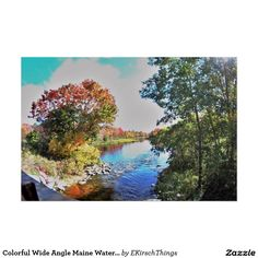 Colorful Wide Angle Maine Waterscape Poster