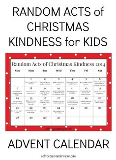 Random acts of kindness advent calendar