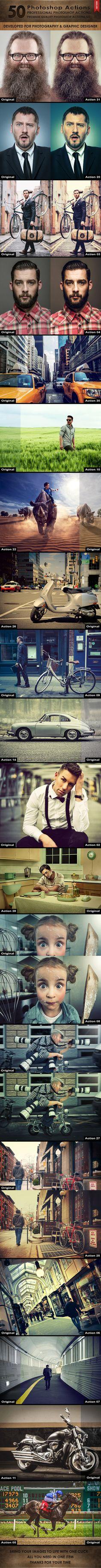 50 Photoshop Actions #design #photoeffect Download: http://graphicriver.net/item/50-photoshop-actions/10481310?ref=ksioks