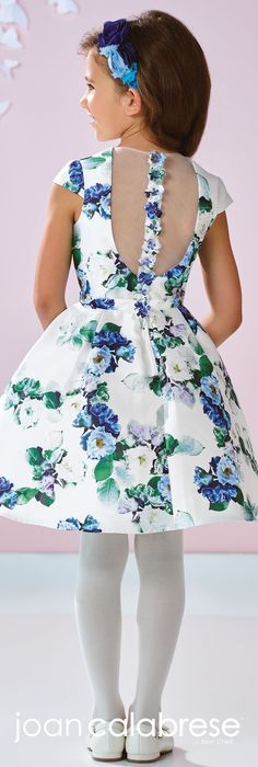 Joan Calabrese for Mon Cheri - Spring 2017 - Style No. 117353 - floral flower girl dress with cap sleeves and illusion back Little Girl Dresses, Girls Dresses, Flower Girl Dresses, Floral Dresses, Toddler Dress, Baby Dress, Dress Girl, White Ball Gowns, Kids Frocks