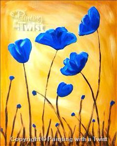 Blue Poppies Painting With A Twist #PWAT #PaintingWithATwist