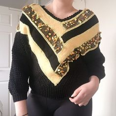 66b387501dec Vintage 70s/80s Yellow and Black Slightly Cropped Jumper! Gorgeous piece  with balloon sleeves. Depop
