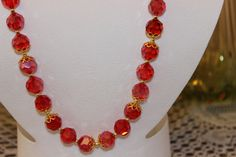 Red Glass Beaded Necklace with GoldPlated Caps by AngeleDesignsLA, $30.00