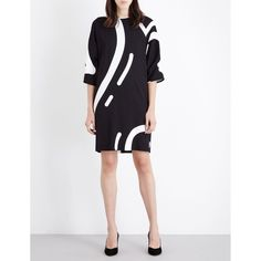 Max Mara Rete heart-print stretch-crepe dress ($910) ❤ liked on Polyvore featuring dresses, evening dresses, 3/4 sleeve dress, three quarter sleeve dresses, print dress and white evening dresses