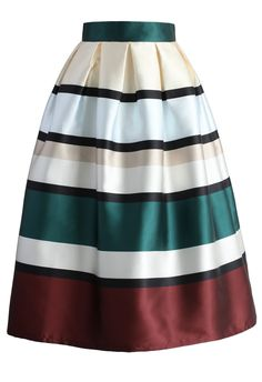 Favor Stripes Pleated Midi Skirt - New Arrivals - Retro, Indie and Unique Fashion