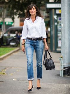 Emmanuelle Alt white shirt and jeans