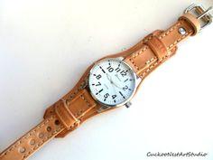 Leather Watch Cuff Men's watch Leather por CuckooNestArtStudio