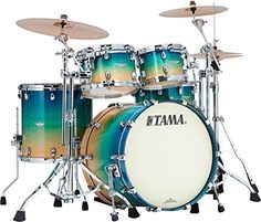 Tama Starclassic Maple Exotix 4Piece Shell Kit with Chrome Shell Hardware Caribbean Sea Blue Fade Figured *** Continue to the product at the image link.Note:It is affiliate link to Amazon.
