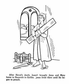 Jesus as a youth in St. Joseph's Carpenter shop.  Catholic Coloring Page.