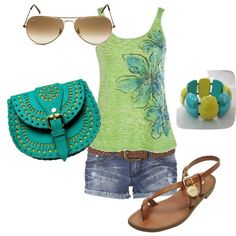 casual green, created by moprandy on Polyvore  shorts would have to be capris  but cute look