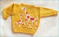 Knitting Charts, Baby Knitting Patterns, Knit Or Crochet, Crochet Baby, Baby Cardigan, Pullover, Baby Sweaters, Giraffe, Vintage Inspired