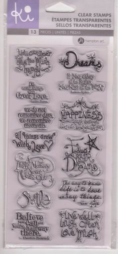 Ki Hampton Art Follow Your Dreams Clear Stamps Believe Smile Love NIP Phrases #HamptonArt
