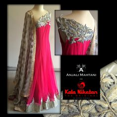 Fabay New designer Embroidered Party Wear Anjali Mahetani Pink Gown Suit Indian Gowns, Indian Attire, Pakistani Dresses, Indian Outfits, Indian Clothes, Bridal Chura, Gown Suit, Pink Gowns, Anarkali Dress