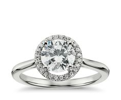 Plain Shank Round Halo Engagement Ring in 14k yellow Gold   Blue Nile