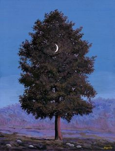 Tree with Crescent Moon   -- Rene Magritte -- 1955 -- owned by the Minneapolis Institute of Arts.