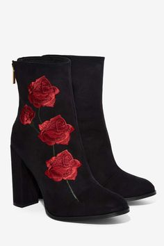 Intentionally Blank Rosa Embroidered Suede Boot - Boots + Booties