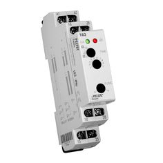 The Peltec 182 True Off Delay / Delay on Make Timer  2 Timing modes adjustable via rotary switch  a – True Off e – Delay on Make  Relay output form: DPDT – 8 Amps  Output indicator: Red LED  Input indicator: Green LED  DIN rail mounting  UL and CE approvals, RoHS compliant  http://www.peltectimers.com/pdfs/Peltec182.pdf