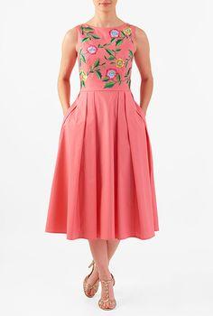 Vibrant embellished florals amp up the sweet charm of our stretch cotton poplin dress cut in a flattering fit-and-flare style. Frock Fashion, Women's Fashion Dresses, Casual Dresses, Girls Dresses, Maxi Dresses, Kurta Designs, Poplin Dress, Batik Dress, Dress Cuts