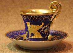 Exceptionally Beautiful Antique German Porcelain Demi Tasse Cup & Saucer in Antiques, Decorative Arts, Ceramics & Porcelain | eBay