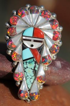 Zuni Sunface Ring Sterling Silver Turquoise Red Opal Stanford Geraldine Gchachu | eBay