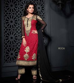 Exquisite Red And Black with Palazzo Pant in Pure Georgette Heavy Embroidery Suit