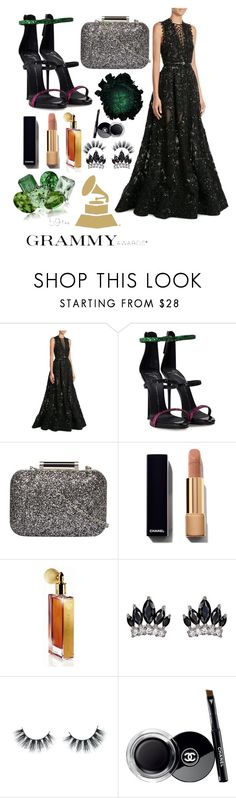 """""""Grammys 17' #2"""" by lupeobera ❤ liked on Polyvore featuring Elie Saab, Giuseppe Zanotti, Dorothy Perkins, Guerlain, Fallon, Unicorn Lashes and Chanel"""