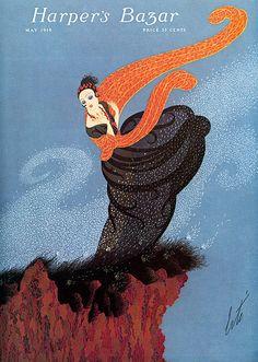 ERTÉ (1892-1990)  1º éxodo de Aportaciones europeas. 1924 a 1937 Diseña las portadas e ilustraciones de HARPER'S BAZAAR. _Principal representante del Art Decó en EEUU. _Dibujo estilizado. _Decoraciones exóticas.