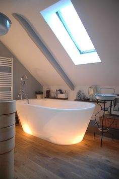 a lighted bathtub