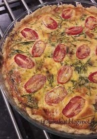 Tarun Taikakakut: Tomaattinen lämminsavulohipiirakka (24cm) Quiche, Food And Drink, Pizza, Cooking, Breakfast, Recipes, Kitchen, Morning Coffee, Recipies